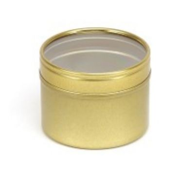 Gold Seamless Tin with Clear Lid