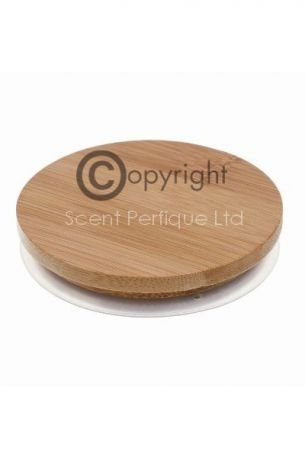 BAMBOO WOODEN CANDLE LID 81MM WITH SEAL - NEW!