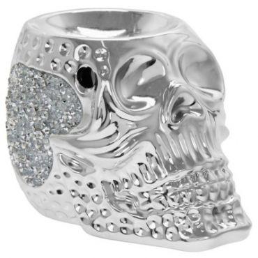Silver Sparkle Skull Wax/Oil Warmer