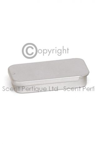 Silver Rectangle Tin Solid Perfume Tin with Sliding Lid