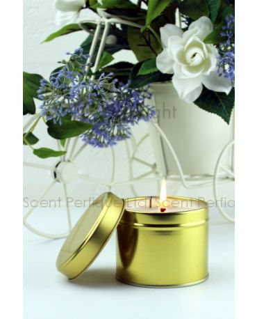 PREMIUM SCENTED CANDLE TINS GOLD 8OZ